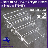 New Premium Set of 5 Sturdy Acrylic Display Riser-Clear-Super Deal