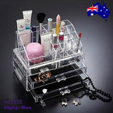 NEW Cosmetic Makeup Jewellery Organiser W/4-Drawers | CLEAR Acrylic