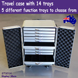 Jewellery TRAVEL Trade Case Cabinet + 14 Flat-Ring-Pendant-Chain-Compartment Trays