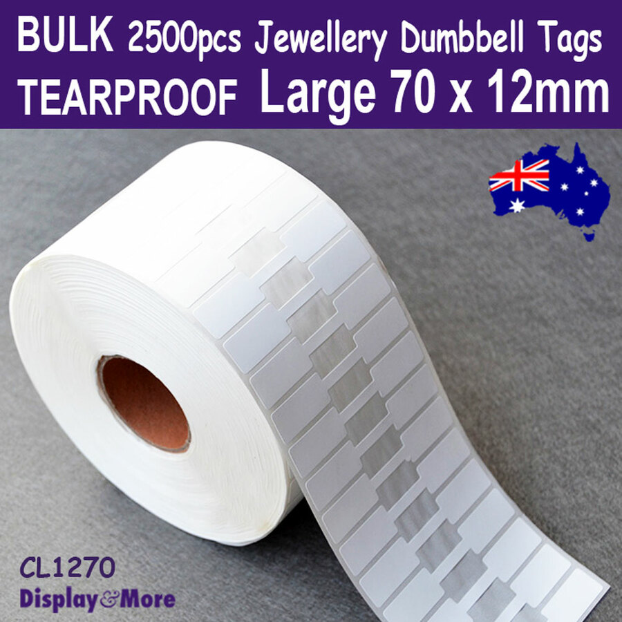 2500 Dumbbell Tags Jewellery Price Label | Large | TEARPROOF