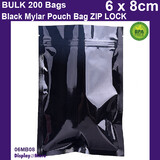 Mylar Bag Zip Lock | BLACK | 200pcs 6 x 8cm