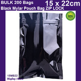 Mylar Bag Zip Lock | BLACK | 200pcs 15 x 22cm