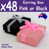 Earring box JEWELLERY Gift Case | 48pcs 5x6cm | PINK or Black