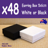 Earring Box JEWELLERY Gift Case | 48pcs 5x6cm | PLAIN White Black