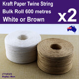 Kraft Paper TWINE String Roll | 1mm x 600 Metres BULK | White or Brown