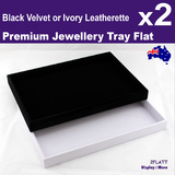 2 Jewellery Organiser Trays FLAT Floor | Black or White