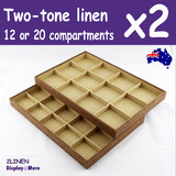 2 Jewellery Trays | 2-Tone LINEN | 12 or 20 Compartments