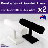 2X Bracelet Watch Holder Display Stand | IVORY or Black Velvet