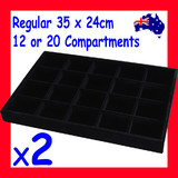 2 Jewellery Trays | 12/20 Compartments | FULL Black Felt
