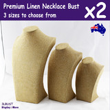 2X Necklace Display Bust | Full Linen PREMIUM Quality | 22 29 38cm