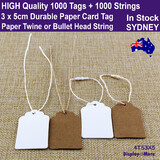 200 Kraft Paper Card Price TAG 3x5cm + 200 String | 4 Styles