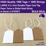 1000 Swing Tags KRAFT Paper Price Label 4.5 x 9cm + 1000 Strings
