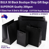 50 Paper Bags | Retail GIFT Shop | BLACK | 6 Sizes