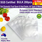 FOOD Bag CRYOVAC Vacuum Sealer Saver | 200pcs | BPA Free | 7 Sizes Embossed
