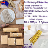 2000 Twist Ties | Food GRADE Kraft Paper Tie in 6 Sizes | 9 Options