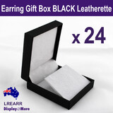 EARRING Display Gift Box Case | 24pcs | Quality Black Leatherette