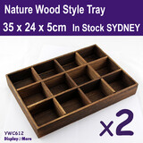 Jewellery Display Tray Wood NATURE Style | 2pcs | 12 Compartments