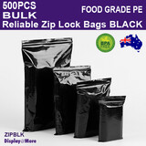 Zip Lock Bag BLACK Grip Seal Pouch FOOD GRADE | 500PCS Bulk