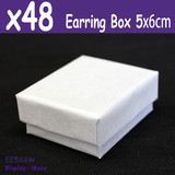 48X Earring Gift Box-5x6cm-Plain WHITE | PREMIUM Quality