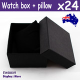 Watch Box BANGLE Bracelet Case | 24pcs 8x9cm | PLAIN Black
