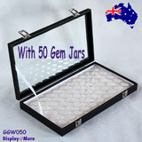 Gemstone OPAL Storage Display Case-White Insert | 50 Gem Jars | Glass Lid