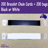 100 Blank Bracelet Chain Display Card + 100 Clear Bag | Black or White