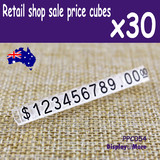30 Sets PRICE Tag Cube Retail Shop | BLACK Numeral